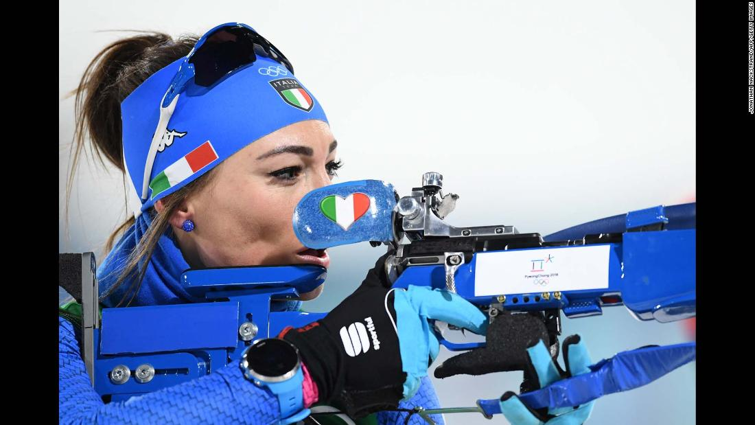 Italian biathlete Dorothea Wierer sets her sights during a mixed relay event.