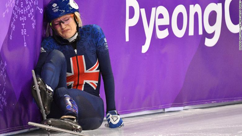 A Dejected Elise Christie After Crashing At The Start Of Her Heat Tuesday