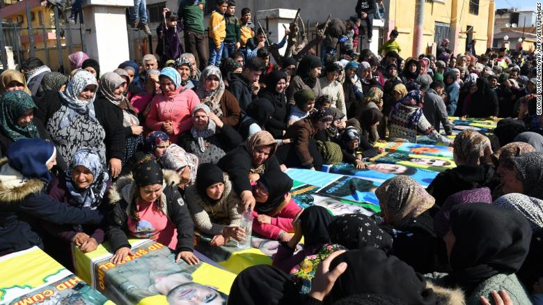 Syrian Kurds attend a funeral in Afrin in mid-February for Kurdish fighters.
