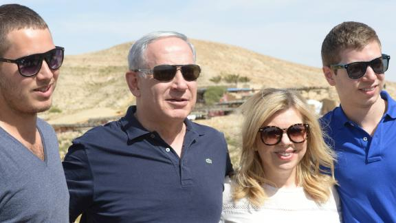 Netanyahu and his family take a vacation in southern Israel in April 2015.