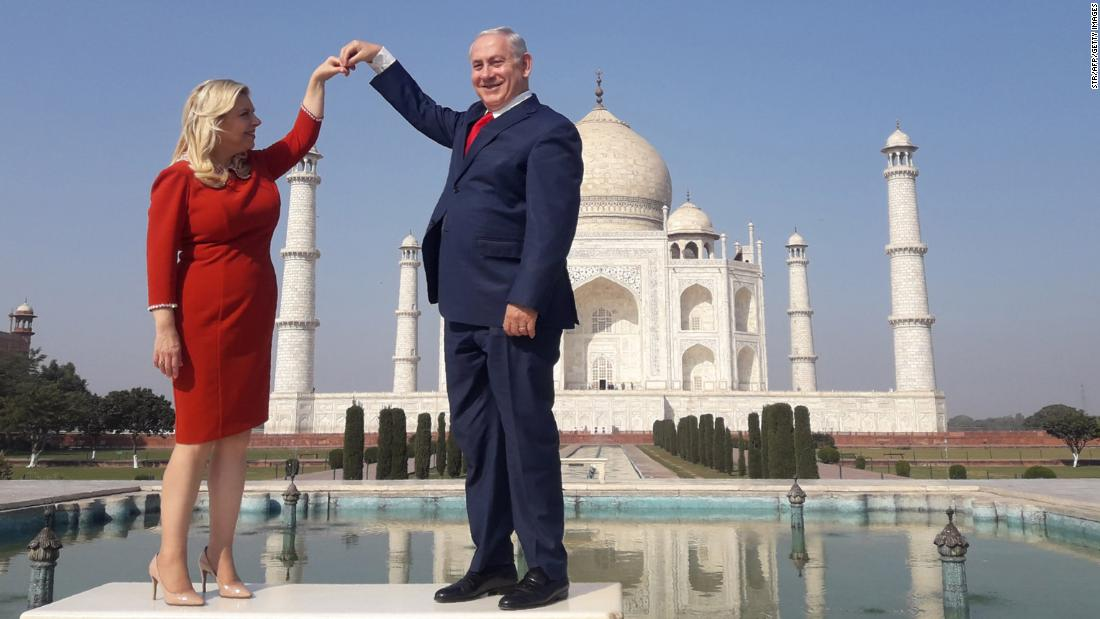 Netanyahu and his wife, Sara, pose for a photo at the Taj Mahal in Agra, India, in January 2018.