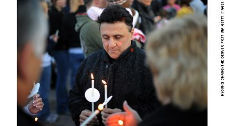 Columbine High School Principal Frank Deangelis at a candlelight vigil for victims of that 1999 shooting.