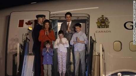 Canadian Prime Minister Justin Trudeau, along with his wife and three children, arrive in New Delhi on February 17.