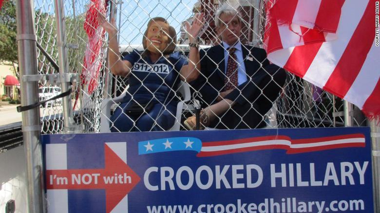 Harry Miller was paid as much as $1,000 by the Russians to build a cage that was used to depict a person dressed as Hillary Clinton in a prison cell at a rally in West Palm Beach, Florida in August 2016.