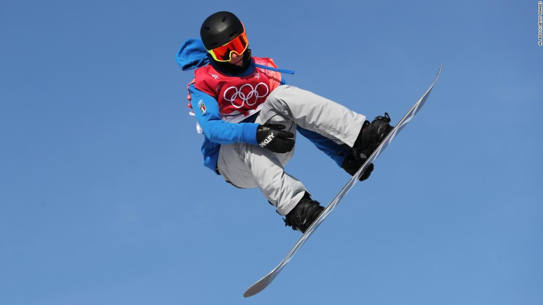 Italian snowboarder Alberto Maffei competes in the big-air event.