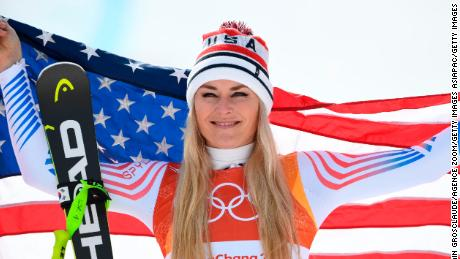 PYEONGCHANG-GUN, SOUTH KOREA - FEBRUARY 21: Lindsey Vonn of USA wins the bronze medal during the Alpine Skiing Women's Downhill at Jeongseon Alpine Centre on February 21, 2018 in Pyeongchang-gun, South Korea. (Photo by Alain Grosclaude/Agence Zoom/Getty Images)
