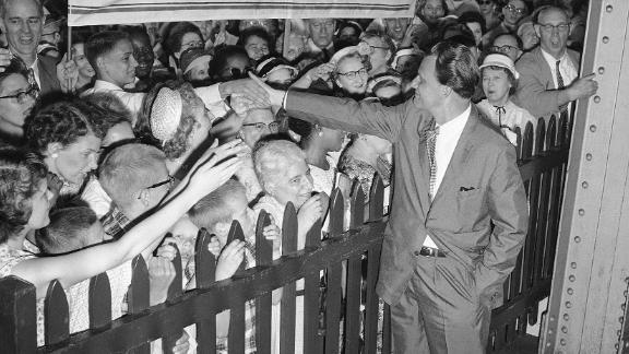 Supporters greet Graham upon his arrival in New York in 1959. Graham and his wife were returning from a six-month speaking tour that included stops in Australia and the Soviet Union.