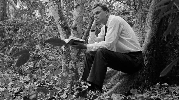 Graham sits in a jungle clearing a few miles from Ibadan, Nigeria, in 1960.