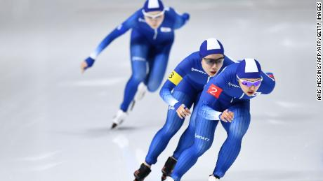 (Front to back) South Korea's Kim Bo-Reum, South Korea's Park Ji Woo and South Korea's Noh Seon-Yeong compete in the women's team pursuit quarter-final speed skating event during the Pyeongchang 2018 Winter Olympic Games at the Gangneung Oval in Gangneung on February 19, 2018. / AFP PHOTO / ARIS MESSINIS        (Photo credit should read ARIS MESSINIS/AFP/Getty Images)