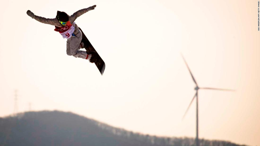 US snowboarder Red Gerard competes in big-air qualifying. He won the slopestyle event earlier in these Games.