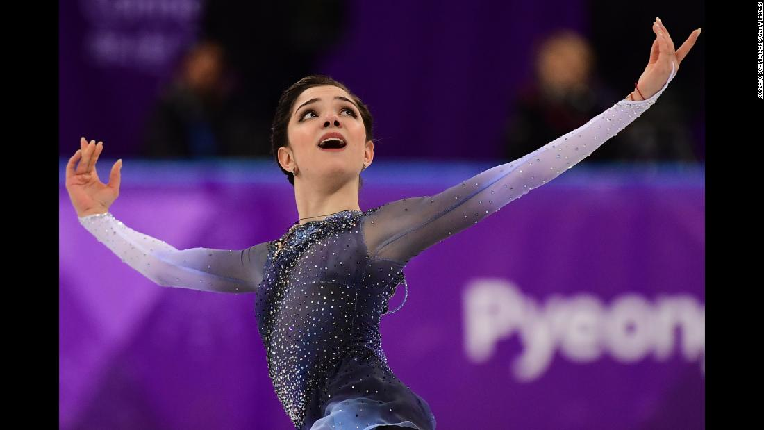 Medvedeva poses during her short program.