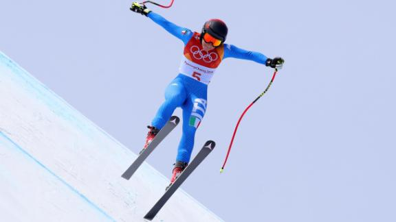 Sofia Goggia, 25, became the first Italian to win the women's downhill, cementing a successful season in which she leads the World Cup downhill standings.<br />