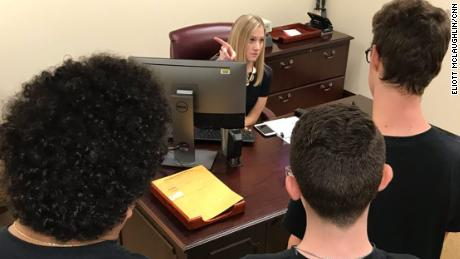 Stoneman Douglas High students are turned away Wednesday from the Florida Senate president's office.