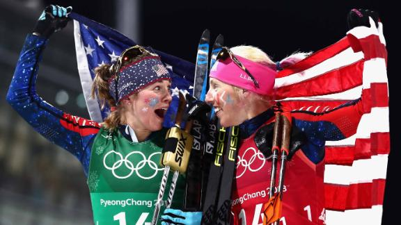 Jessie Diggins of the United States, left, and Kikkan Randall of the United States celebrate winning the  gold in the Cross Country Ladies' Team Sprint Free Final.