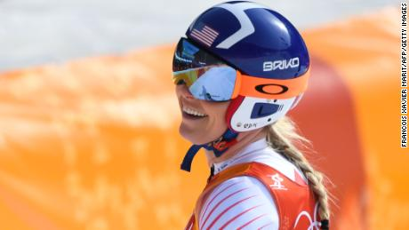Vonn reacts after crossing the finish line in the downhill