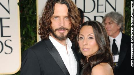 BEVERLY HILLS, CA - JANUARY 15:  Musician Chris Cornell (L) and wife Vicky Karayiannis arrive at the 69th Annual Golden Globe Awards held at the Beverly Hilton Hotel on January 15, 2012 in Beverly Hills, California.  (Photo by Jason Merritt/Getty Images)