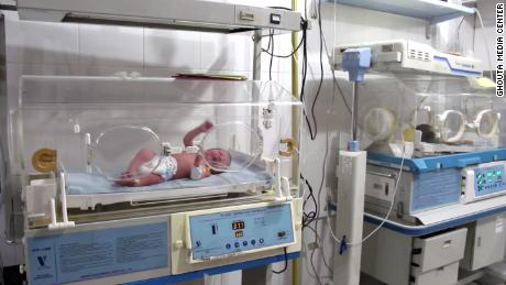 A baby in the last remaining neonatal unit in Eastern Ghouta, which has moved underground. There are only 8 machines and limited staff.