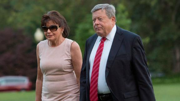 Viktor Knavs and Amalija Knavs, parents of US first lady Melania Trump, arrive at the White House with the first family on June 11, 2017 in Washington, DC.