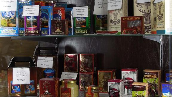 Products made from antler blood on sale at a farm in Nikolskoe, Russia.