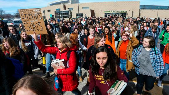 Students at a Minnesota high school were among those staging walkouts against gun violence Wednesday.