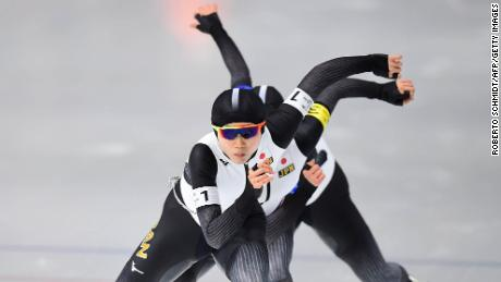 TOPSHOT - Front to rear: Japan's Miho Takagi, Japan's Ayano Sato and Japan's Nana Takagi  compete in the women's team pursuit final A speed skating event during the Pyeongchang 2018 Winter Olympic Games at the Gangneung Oval in Gangneung on February 21, 2018. / AFP PHOTO / Roberto SCHMIDT        (Photo credit should read ROBERTO SCHMIDT/AFP/Getty Images)