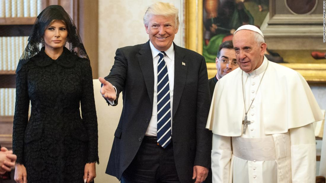 Pope Francis meets President Trump and First Lady Melania Trump at the Apostolic Palace on May 24, 2017 in Vatican City. Take a look back at other meetings between popes and US presidents over the years.