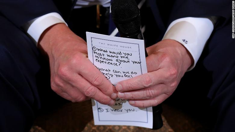 Trump's notes at listening session: I hear you