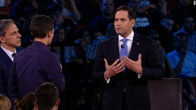Survivors and parents spar with Rubio, the NRA