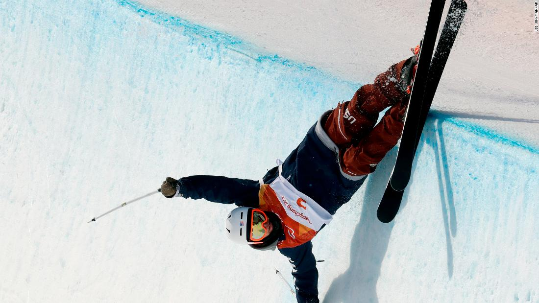 US skier Aaron Blunck crashes in the halfpipe event.