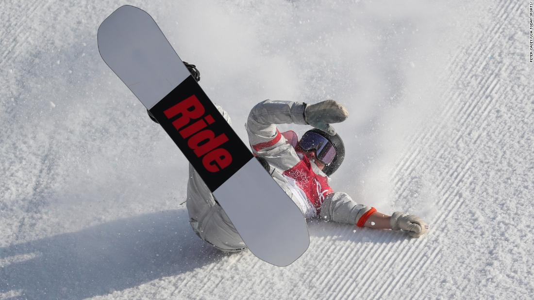 American snowboarder Jessika Jenson falls in the big-air event.