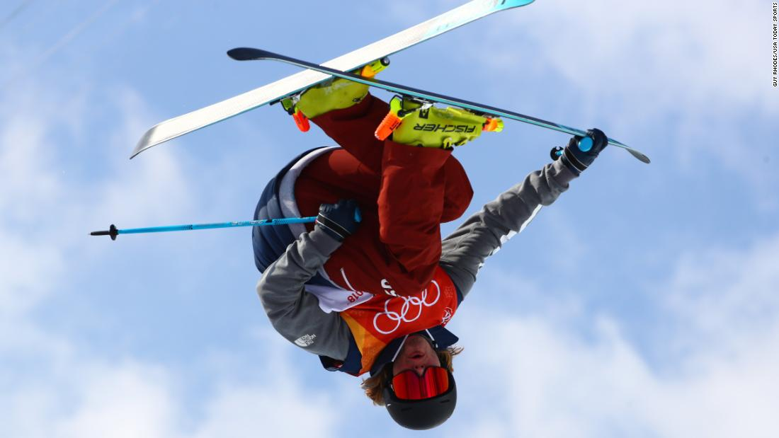 American freestyle skier David Wise competes in the halfpipe event, which he won for the second straight Olympics.