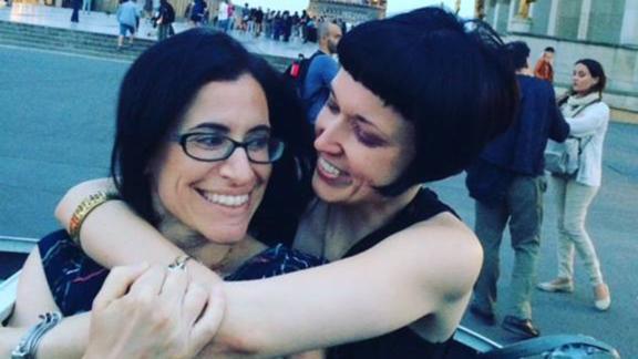 Fatma Marouf, left, and Bryn Esplin vacation in Paris.