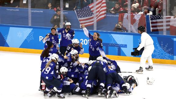 The US Women's Hockey Team celebrates after defeating Canada in a shootout to win the Women's Gold Medal Game on day thirteen of the PyeongChang 2018 Winter Olympic Games in South Korea.