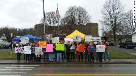 Teachers picket outside Barrackville School in Barrackville, WV.