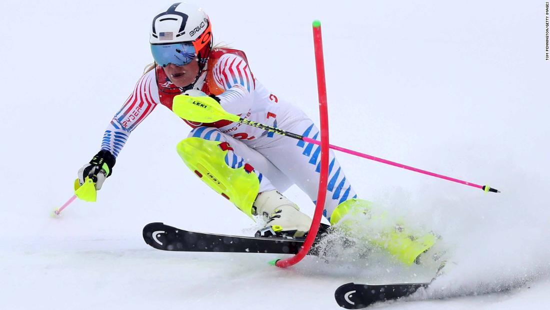 Lindsey Vonn misses a gate during the slalom portion of the combined. It might have been the last Olympic race for the American, who was in first place after the downhill.