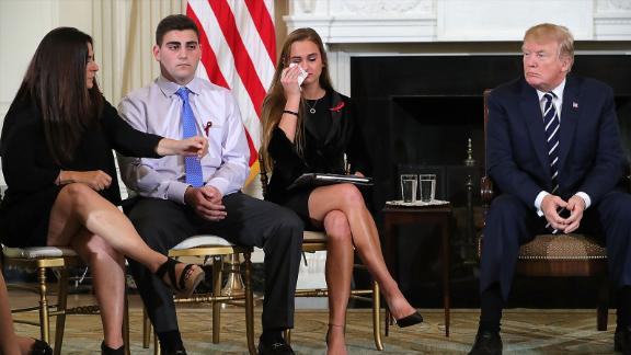 WASHINGTON, DC - FEBRUARY 21:  (AFP OUT) U.S. President Donald Trump (R)  hosts a listening session with Marjory Stoneman Douglas High School shooting survivors Julie Cordover (2nd R) and  Jonathan Blank and his mother Melissa Blank and others in the State Dining Room at the White House February 21, 2018 in Washington, DC. Trump is hosted the session in the wake of last week