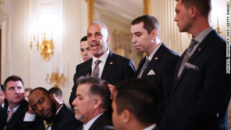 Pollack (center), flanked by his sons, speaks during a listening session on gun violence at the White House in 2018.  (MANDEL NGAN/AFP/Getty Images)