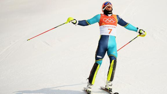 Sweden's Andre Myhrer clinched gold in the slalom, becoming the oldest Olympic medalist in this event, aged 35 -- improving on his slalom bronze in Vancouver eight years ago.