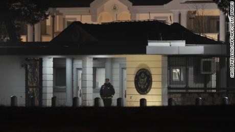 Police guard the entrance to the US Embassy compound in Podgorica after Thursday's explosion.