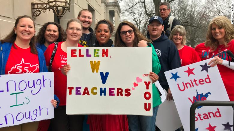 Teachers gathered at the state capitol building in Charleston, West Virgina, Thursday to demand higher wages and better benefits.