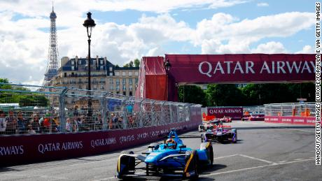 PARIS, FRANCE - MAY 20: In this handout image supplied by Formula E, Sebastien Buemi (SUI), Renault eDams, Spark-Renault, Renault ZE 16, leads Jose Maria Lopez (ARG), DS Virgin Racing, Spark-Citroen, Virgin DSV-0 during the FIA Formula E Championship Paris ePrix on May 20, 2017 in Paris, France. (Photo by Steven Tee/LAT Images / Formula E via Getty Images)