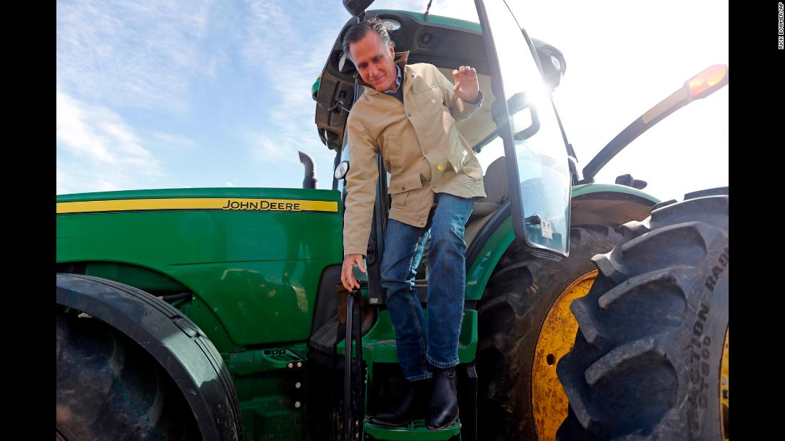 "Former Republican presidential candidate Mitt Romney climbs down from a tractor during a tour of a Utah dairy farm on Friday, February 16. Romney <a href=""https://www.cnn.com/2018/02/16/politics/mitt-romney-senate-utah/index.html"" target=""_blank"">announced in a video</a> released on Friday that he will run for the US Senate from Utah. <a href=""https://www.cnn.com/2018/02/19/politics/mitt-romney-donald-trump-utah/index.html"" target=""_blank"">President Trump endorsed Romney's</a> bid for a seat."