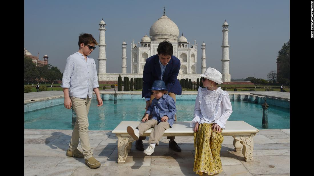 "Prime Minister of Canada Justin Trudeau gathers his children for a photo during their visit to the Taj Mahal on Sunday, February 18. Trudeau and his family are in India for a <a href=""https://www.cnn.com/2018/02/22/asia/extremist-scandal-trudeau-india-visit-intl/index.html"" target=""_blank"">week-long trip</a> aimed at boosting economic ties between the two countries."