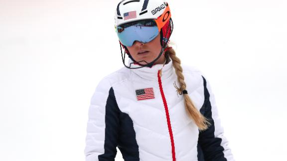 Lindsey Vonn of the United States inspects the course prior to the Ladies' Alpine Combined.