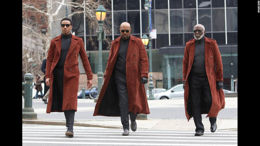 "From left, Jessie T. Usher, Samuel L. Jackson and Richard Roundtree appear in matching outfits while filming their latest movie, ""SHAFT"" in New York City on Saturday, February 17."