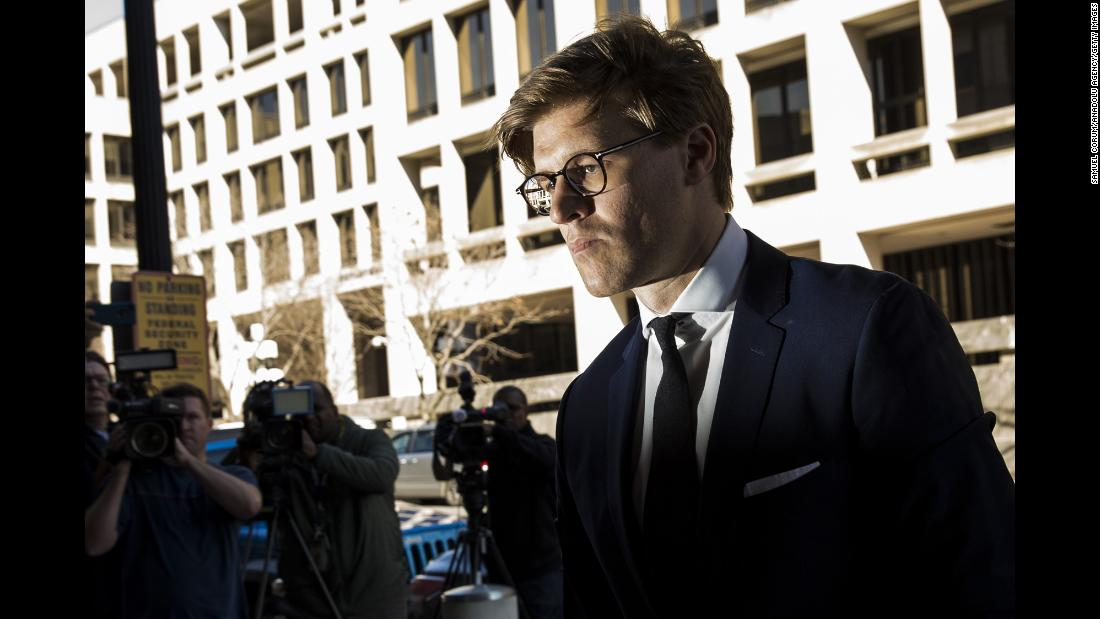 "Alex van der Zwaan, a Dutch lawyer, arrives at the US District Courthouse to <a href=""https://www.cnn.com/2018/02/20/politics/robert-mueller-rick-gates/index.html"" target=""_blank"">plead guilty to charges</a> of making false statements to investigators during Robert Mueller's special counsel investigation on Tuesday, February 20."