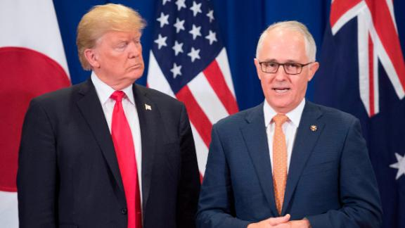 President Donald Trump listens to Australia Prime Minister Malcolm Turnbull during the Association of South East Asian Nations (ASEAN) Summit in Manila on November 13, 2017.