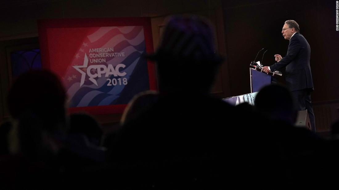 "<a href=""https://www.cnn.com/2018/02/22/politics/wayne-lapierre-cpac-speech-nra/index.html"" target=""_blank"">Wayne LaPierre</a>, executive vice president of the National Rifle Association, speaks at the Conservative Political Action Conference on Thursday, February 22, in National Harbor, Maryland. A polarizing figure, LaPierre reiterated a frequently used NRA slogan at the end of his speech: ""To stop a bad guy with a gun, it takes a good guy with a gun."""