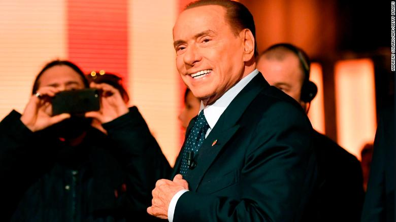 "Italian former Prime Minister and leader of center-right party Forza Italia (Go Italy), Silvio Berlusconi arrives to attend the TV show ""Quinta Colonna"", a programme of Italian channel Rete 4, on January 18, 2018 in Rome."