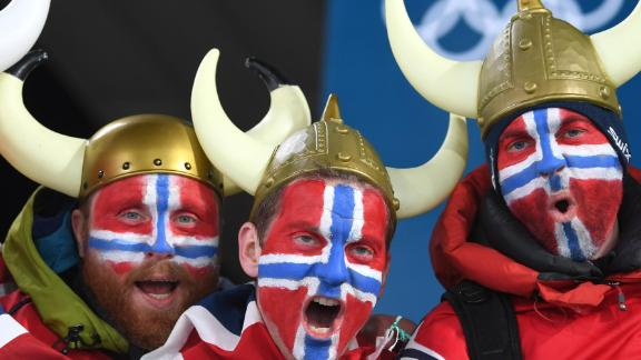 Norway fans pose at the Pyeongchang 2018 Winter Olympic Games.